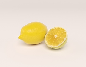Lemon with lemon slice 3D