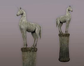 3D asset low-poly Statue Unicorn
