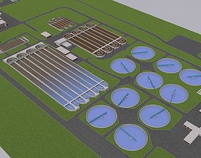 Water Waste and Sewage Treatment Plant 3D model