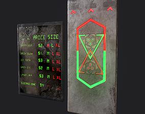 Sci-Fi Neon Door and Sign 3D model