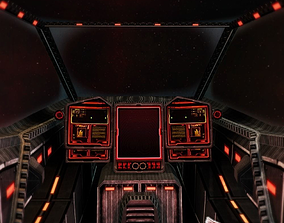 3D model Cockpit sci-fi low poly with 2 skins