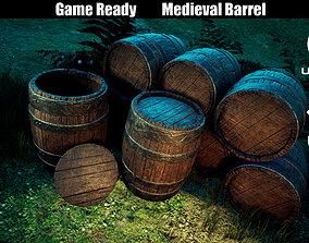 VR / AR ready Game Ready Medieval Barrel LowPoly 3D Model