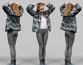 3D model Girl in Fluffy Black and white jacket Square 2