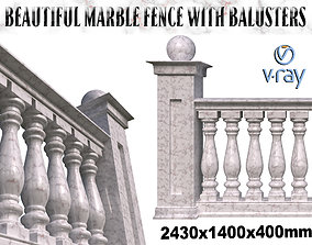 White marble fence balasins and 3D model
