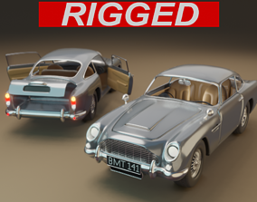 Aston Martin DB5 Car 3D model rigged rigged