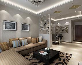 Modern Living Dining Room 3D