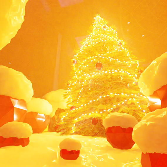 Low-Poly Indoor Christmas Tree Version 2 (Blender-2.91 Cycles Render)