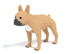 Low Poly Cartoon French Bulldog 3D model