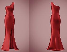 one shoulder satin slit dress 3D asset