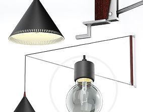Willem Hagoort arc wall lamp 1950 3D model