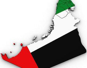 3D Political Map of United Arab Emirates UAE