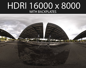 3D Solar Parking Lot HDRI hdr environment with backplates