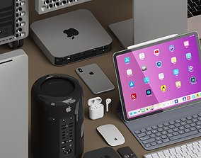 low-poly AD Apple collection 3D model