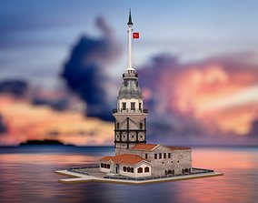 3D tower Maidens Tower Istanbul