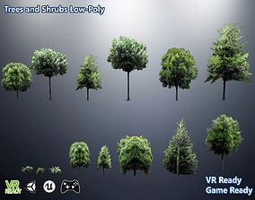 3D asset Trees and Shrubs Low Poly
