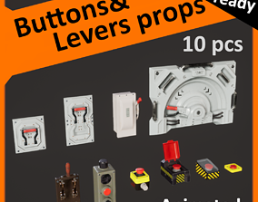 Buttons and levers pack animated 3D model