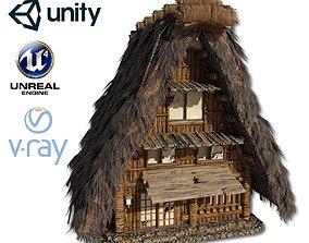 3D asset VR / AR ready Shirakawago Village Set House 1