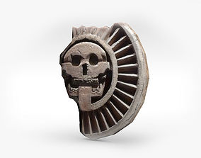 3D asset Aztec stone disk with skull