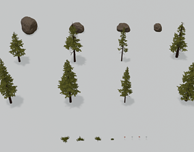 3D asset realtime Pine Tree Pack rock