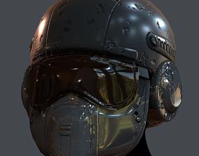 low-poly Gas mask helmet 3d 6