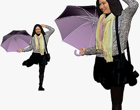 001144 woman in french style with umbrella 3d print ready