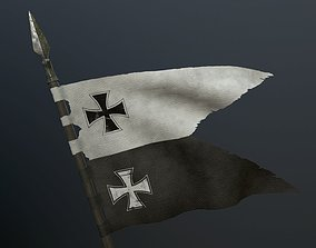 Medieval flag on the spear 3D asset lowpoly