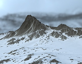 3D asset low-poly snow mountain ice
