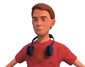 man with short rigged cartoon character 3D