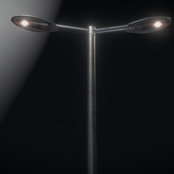 Sci-Fi Street Light 14 version 2 (3m) with pole 3 Blender-2.90.1