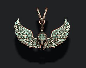 3D print model Spartan helmet wings pendant