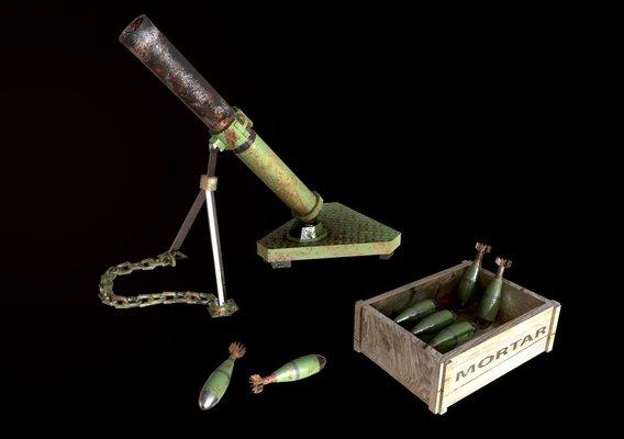 mortar 3d model lowpoly