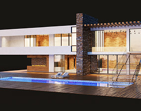 3D Modern villa with pool