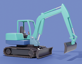 3D asset Cartoon Excavator Machinery