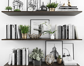 3D model VR / AR ready bookcase Decorative set
