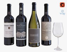 3D model Wine bottle set 7