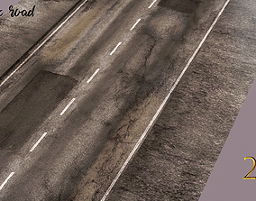 Realistic Road with puddles 3D asset