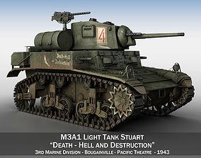 3D M3A1 Light Tank Stuart - Death-Hell and Destruction