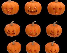 9 decorative pumpkins for Halloween season 3d