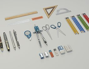 3D asset School supplies Mega Pack