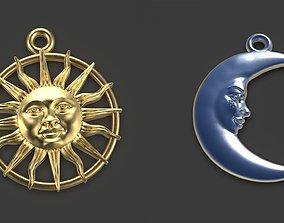 3D print model Sun and Moon 3 pendants
