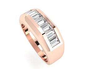 3D print model Men ring baguette channel