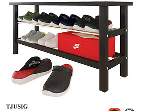 3D IKEA TJUSIG bench with crocs shoes