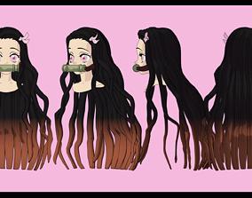 Nezuko Kamado hairstyle 3D