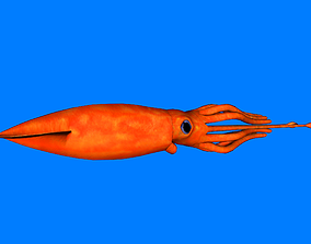 Squid 3D asset animated game-ready