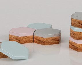 Hexagonal pastel boxes 3D