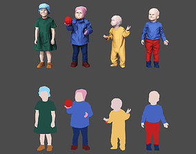 3D model game-ready Colored Lowpoly Childrens