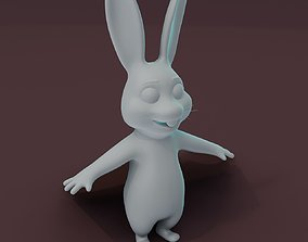 Cartoon Rabbit Rigged Base Mesh 3D Model rigged low-poly