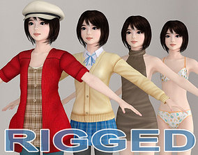 3D T pose rigged model of Chiharu with various outfit