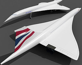 3D model Concorde Aircraft with Textures