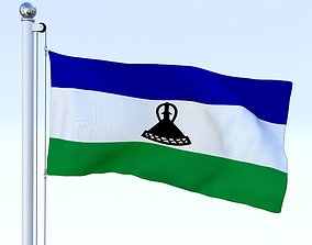 3D asset Animated Lesotho Flag
